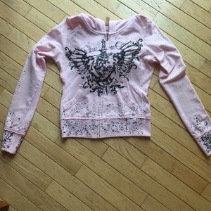 Pink zip up jacket w/ black splatter &graphics S